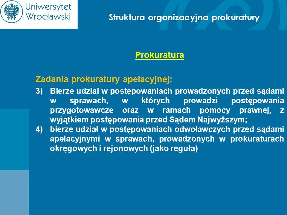 Struktura organizacyjna prokuratury Prokuratura Zadania prokuratury apelacyjnej: 3)Bierze udział w postępowaniach prowadzonych przed sądami w sprawach