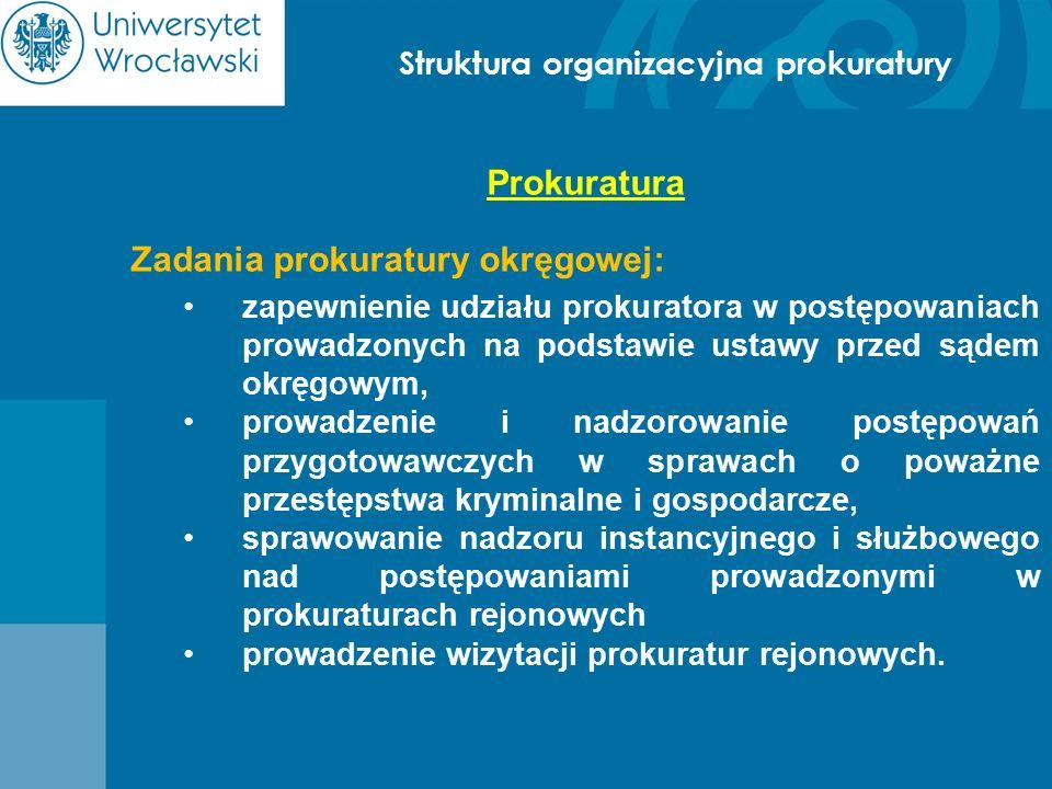 Struktura organizacyjna prokuratury Prokuratura Zadania prokuratury okręgowej: zapewnienie udziału prokuratora w postępowaniach prowadzonych na podsta