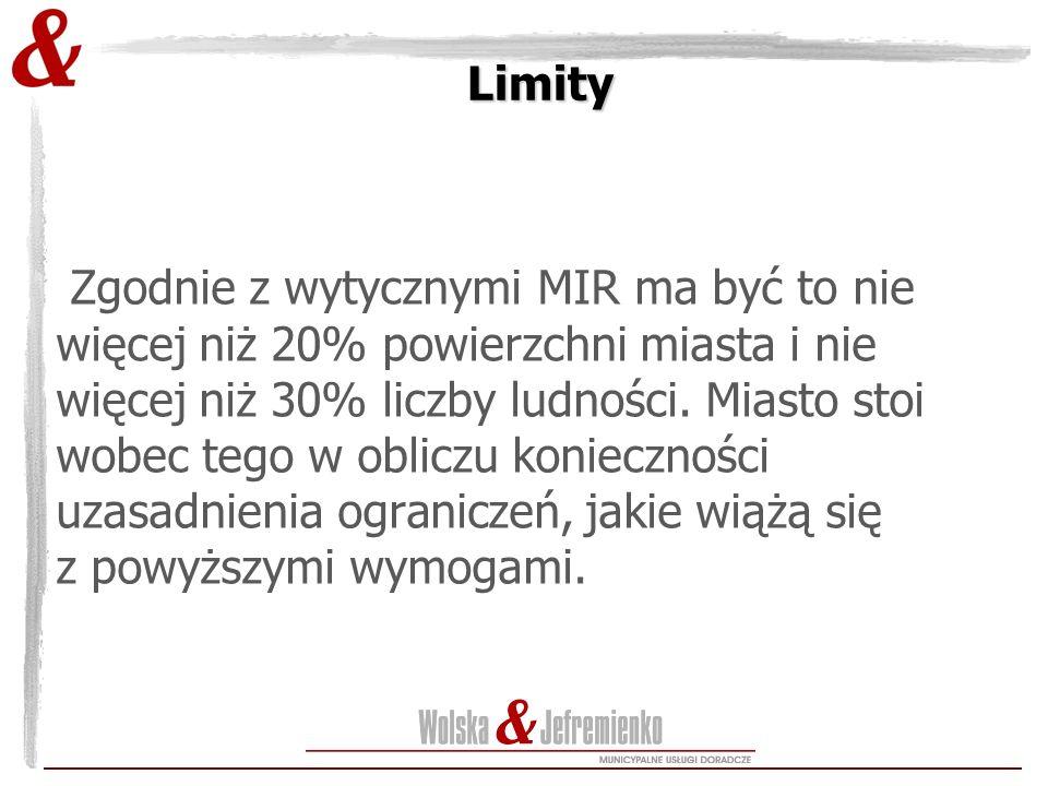 Limity Zgodnie z wytycznymi MIR ma być to nie więcej niż 20% powierzchni miasta i nie więcej niż 30% liczby ludności.
