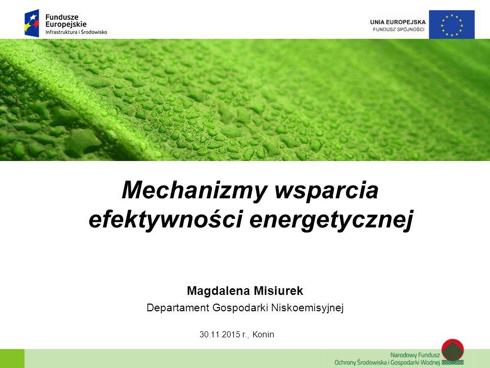 Zainwestujmy razem w środowisko Poprawa efektywności energetycznej Dopłaty do kredytów na budowę domów energooszczędnych Cel programu Zmniejszenie emisji CO 2, poprzez dofinansowanie przedsięwzięć poprawiających efektywność wykorzystania energii w nowobudowanych budynkach mieszkalnych.