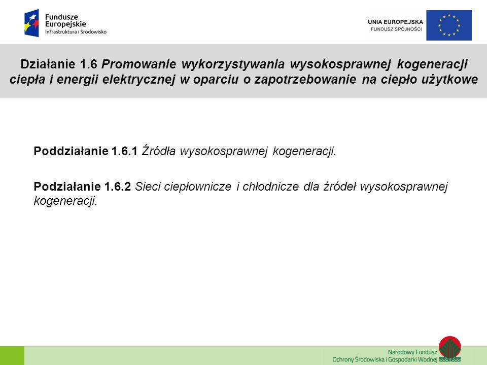 Działanie 1.6 Promowanie wykorzystywania wysokosprawnej kogeneracji ciepła i energii elektrycznej w oparciu o zapotrzebowanie na ciepło użytkowe Poddz