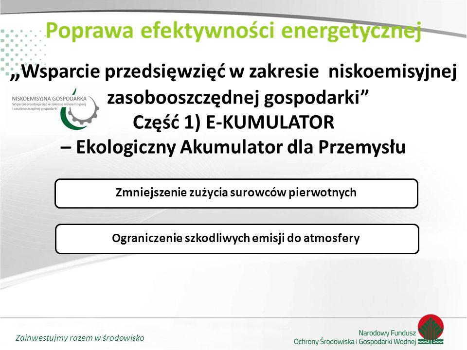 """Zainwestujmy razem w środowisko """" Wsparcie przedsięwzięć w zakresie niskoemisyjnej i zasobooszczędnej gospodarki"""" Część 1) E-KUMULATOR – Ekologiczny A"""
