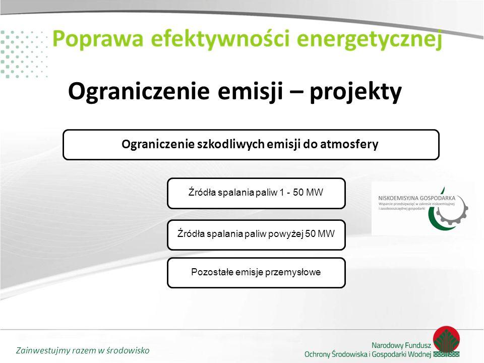 Zainwestujmy razem w środowisko Ograniczenie emisji – projekty Ograniczenie szkodliwych emisji do atmosfery Źródła spalania paliw 1 - 50 MW Źródła spa