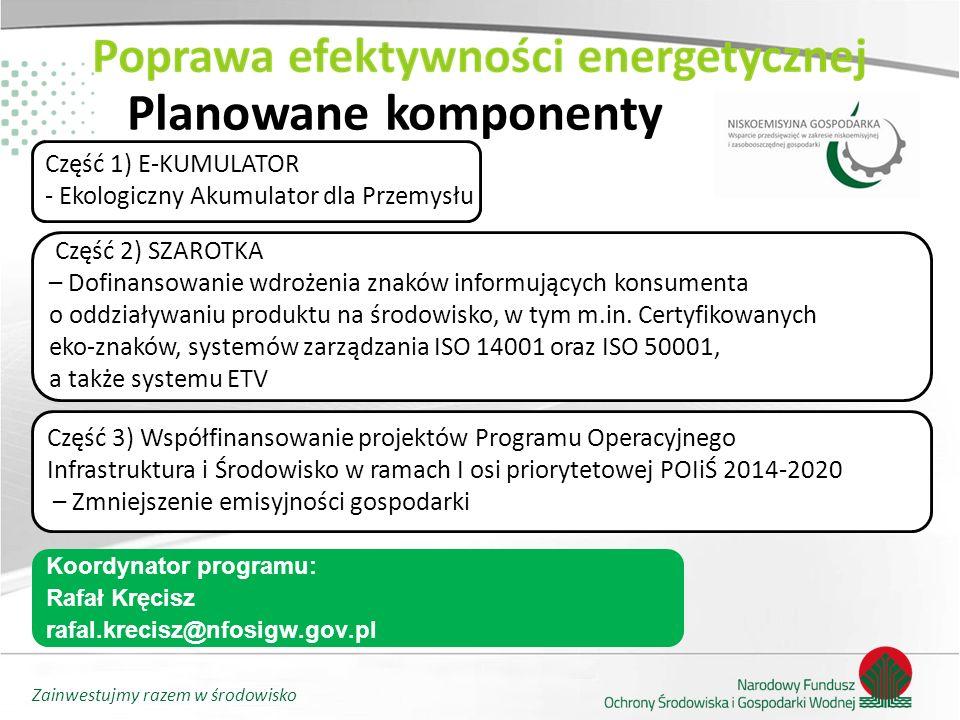 Zainwestujmy razem w środowisko Planowane komponenty Część 1) E-KUMULATOR - Ekologiczny Akumulator dla Przemysłu Część 3) Współfinansowanie projektów