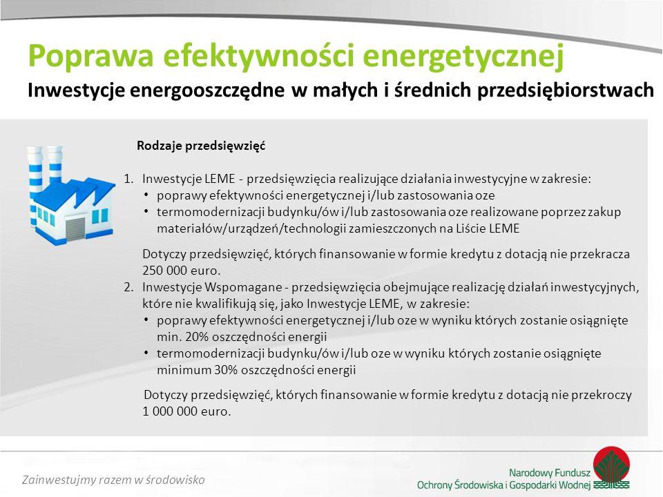 Zainwestujmy razem w środowisko Rodzaje przedsięwzięć 1.Inwestycje LEME - przedsięwzięcia realizujące działania inwestycyjne w zakresie: poprawy efekt