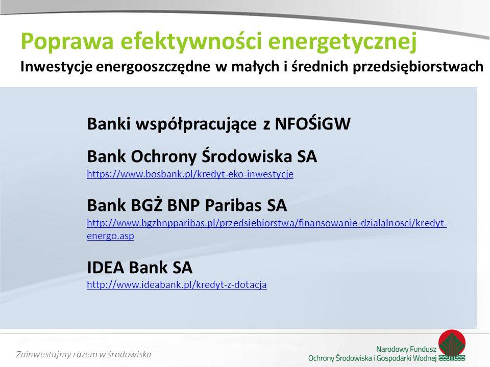 Zainwestujmy razem w środowisko Banki współpracujące z NFOŚiGW Bank Ochrony Środowiska SA https://www.bosbank.pl/kredyt-eko-inwestycje Bank BGŻ BNP Pa