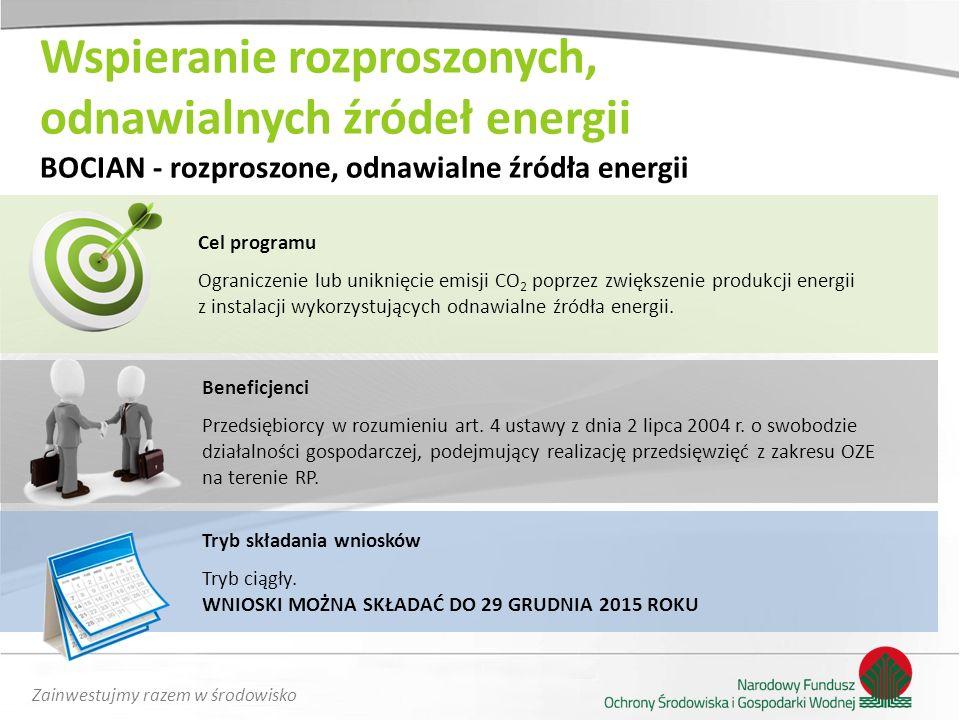 Zainwestujmy razem w środowisko Cel programu Ograniczenie lub uniknięcie emisji CO 2 poprzez zwiększenie produkcji energii z instalacji wykorzystujący