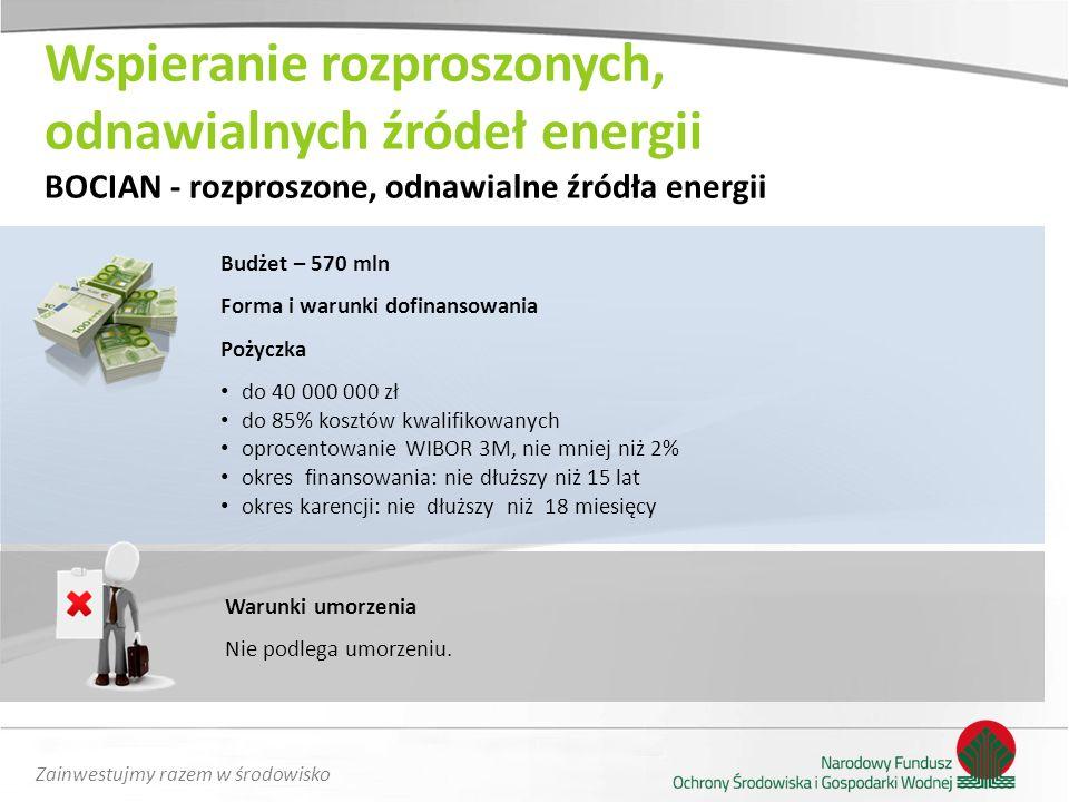 Zainwestujmy razem w środowisko Wspieranie rozproszonych, odnawialnych źródeł energii BOCIAN - rozproszone, odnawialne źródła energii Budżet – 570 mln