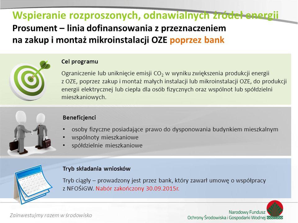 Zainwestujmy razem w środowisko Cel programu Ograniczenie lub uniknięcie emisji CO 2 w wyniku zwiększenia produkcji energii z OZE, poprzez zakup i mon