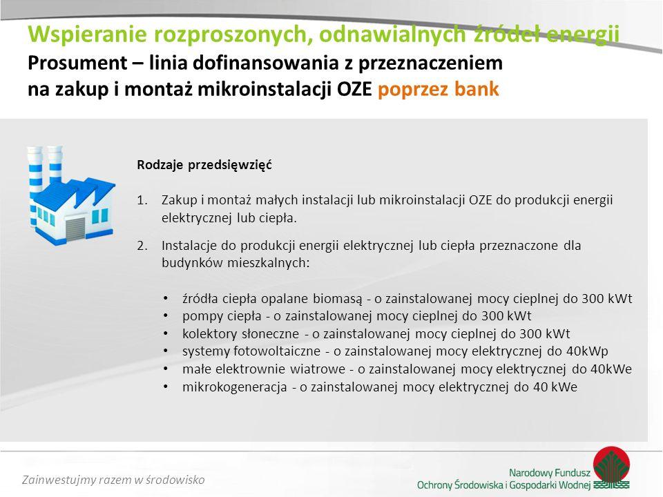 Zainwestujmy razem w środowisko Rodzaje przedsięwzięć 1.Zakup i montaż małych instalacji lub mikroinstalacji OZE do produkcji energii elektrycznej lub
