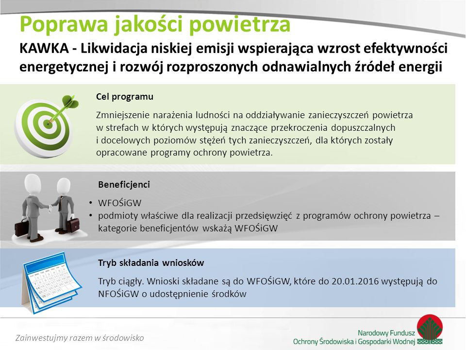 Zainwestujmy razem w środowisko Poprawa jakości powietrza KAWKA - Likwidacja niskiej emisji wspierająca wzrost efektywności energetycznej i rozwój roz