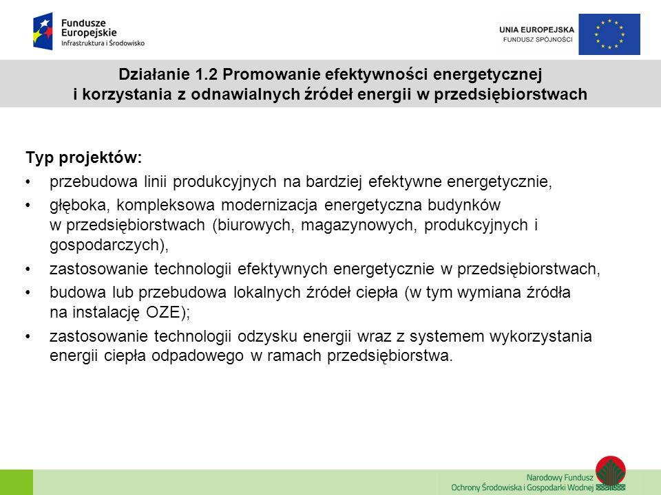 Działanie 1.2 Promowanie efektywności energetycznej i korzystania z odnawialnych źródeł energii w przedsiębiorstwach Typ projektów: przebudowa linii p