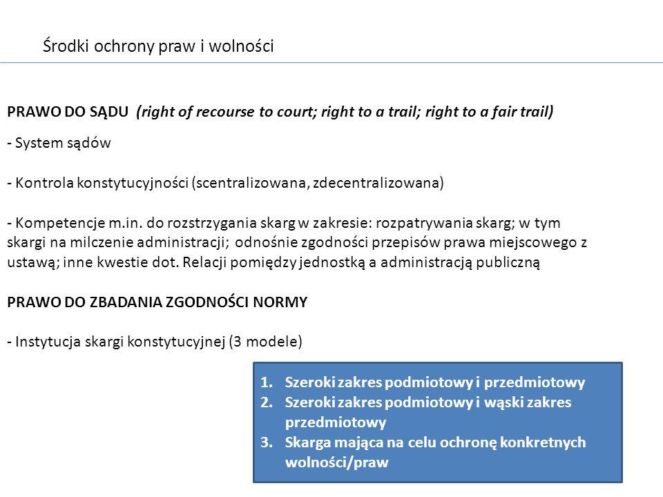 Środki ochrony praw i wolności PRAWO DO SĄDU (right of recourse to court; right to a trail; right to a fair trail) - System sądów - Kontrola konstytuc