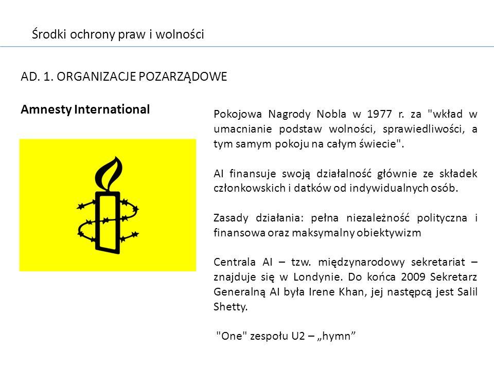 Środki ochrony praw i wolności AD. 1. ORGANIZACJE POZARZĄDOWE Amnesty International Pokojowa Nagrody Nobla w 1977 r. za