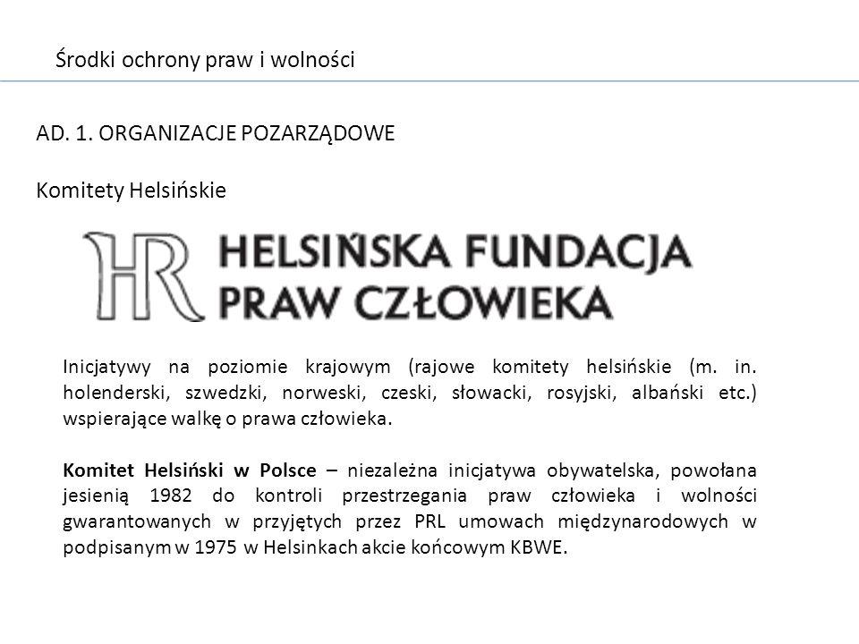 Środki ochrony praw i wolności AD. 1. ORGANIZACJE POZARZĄDOWE Komitety Helsińskie Inicjatywy na poziomie krajowym (rajowe komitety helsińskie (m. in.