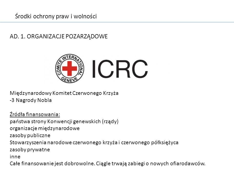 Środki ochrony praw i wolności AD. 1. ORGANIZACJE POZARZĄDOWE Międzynarodowy Komitet Czerwonego Krzyża -3 Nagrody Nobla Źródła finansowania: państwa s