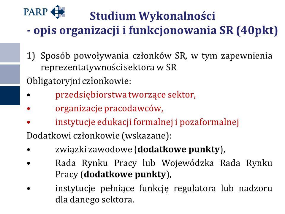 Studium Wykonalności - opis organizacji i funkcjonowania SR (40pkt) 1)Sposób powoływania członków SR, w tym zapewnienia reprezentatywności sektora w S
