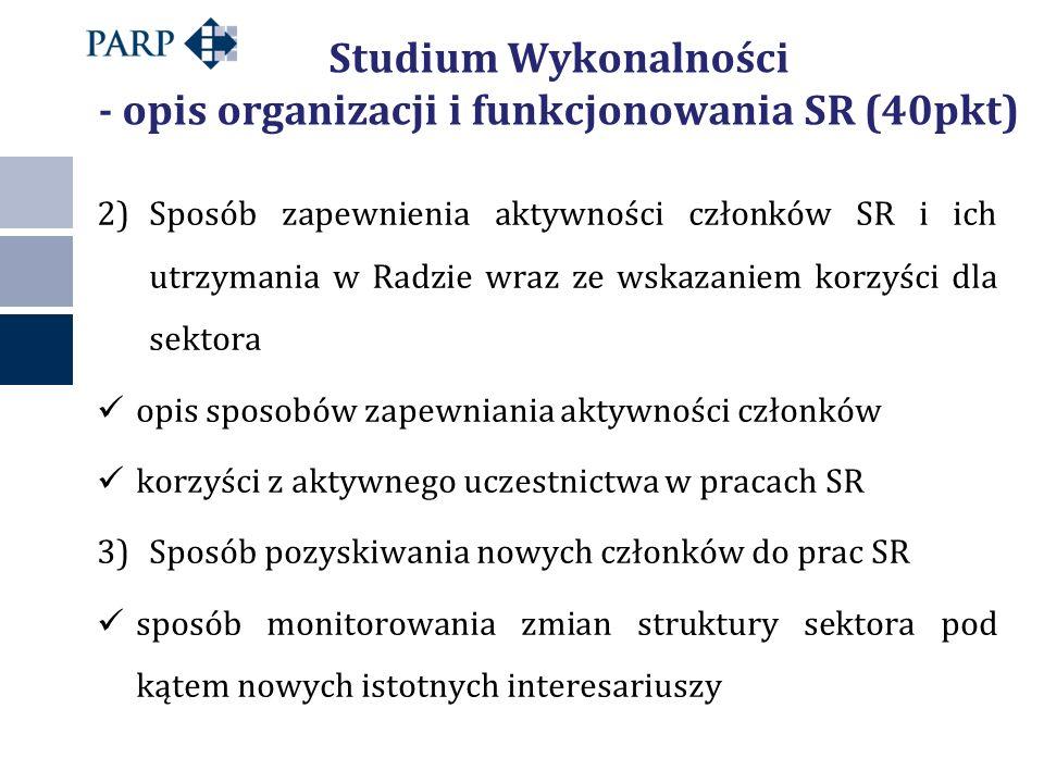 Studium Wykonalności - opis organizacji i funkcjonowania SR (40pkt) 2)Sposób zapewnienia aktywności członków SR i ich utrzymania w Radzie wraz ze wskazaniem korzyści dla sektora opis sposobów zapewniania aktywności członków korzyści z aktywnego uczestnictwa w pracach SR 3)Sposób pozyskiwania nowych członków do prac SR sposób monitorowania zmian struktury sektora pod kątem nowych istotnych interesariuszy