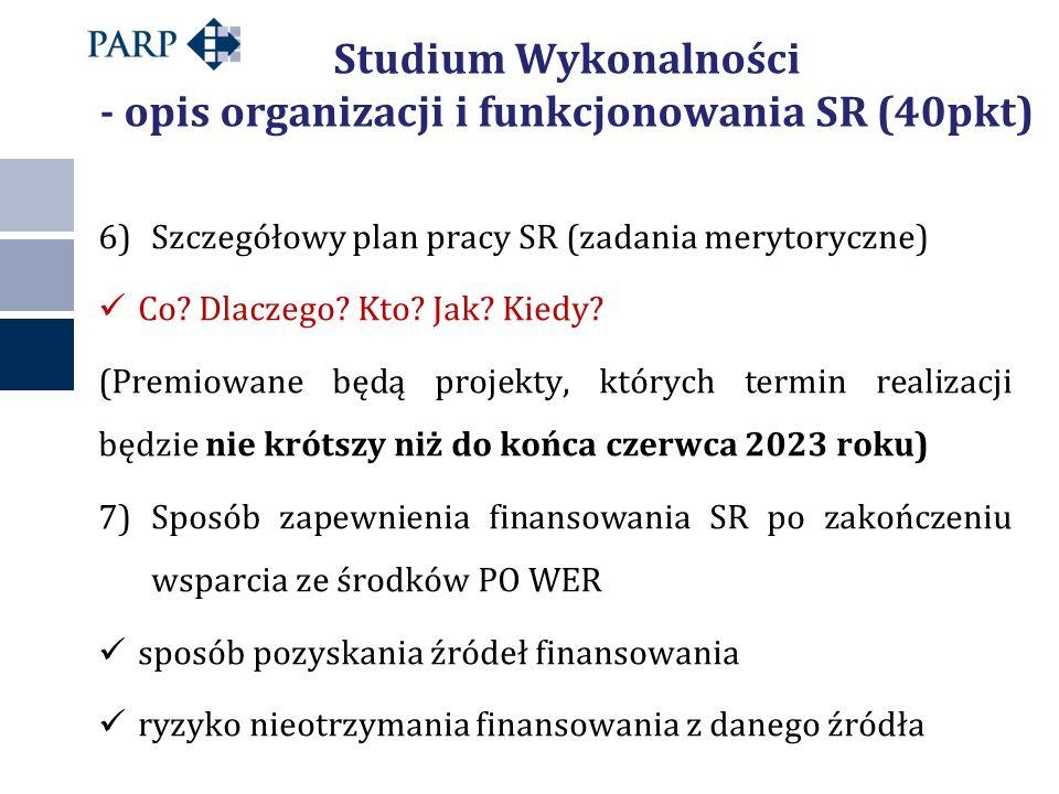 Studium Wykonalności - opis organizacji i funkcjonowania SR (40pkt) 6)Szczegółowy plan pracy SR (zadania merytoryczne) Co? Dlaczego? Kto? Jak? Kiedy?