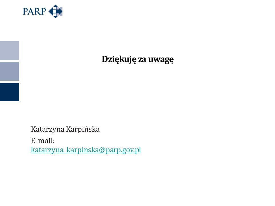 Katarzyna Karpińska E-mail: katarzyna_karpinska@parp.gov.pl katarzyna_karpinska@parp.gov.pl Dziękuję za uwagę