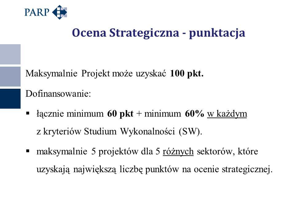 Ocena Strategiczna - punktacja Maksymalnie Projekt może uzyskać 100 pkt. Dofinansowanie:  łącznie minimum 60 pkt + minimum 60% w każdym z kryteriów S