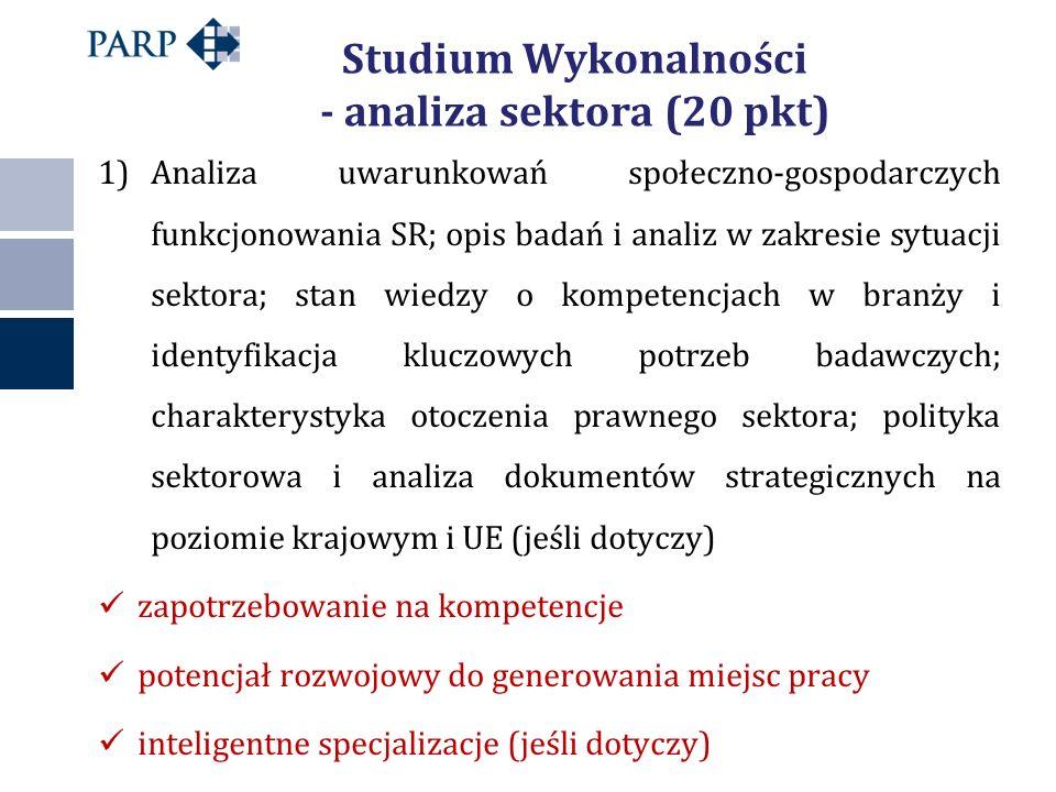 Studium Wykonalności - analiza sektora (20 pkt) 1)Analiza uwarunkowań społeczno-gospodarczych funkcjonowania SR; opis badań i analiz w zakresie sytuacji sektora; stan wiedzy o kompetencjach w branży i identyfikacja kluczowych potrzeb badawczych; charakterystyka otoczenia prawnego sektora; polityka sektorowa i analiza dokumentów strategicznych na poziomie krajowym i UE (jeśli dotyczy) zapotrzebowanie na kompetencje potencjał rozwojowy do generowania miejsc pracy inteligentne specjalizacje (jeśli dotyczy)