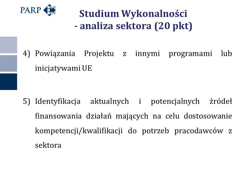 Studium Wykonalności - analiza sektora (20 pkt) 4)Powiązania Projektu z innymi programami lub inicjatywami UE 5)Identyfikacja aktualnych i potencjalnych źródeł finansowania działań mających na celu dostosowanie kompetencji/kwalifikacji do potrzeb pracodawców z sektora