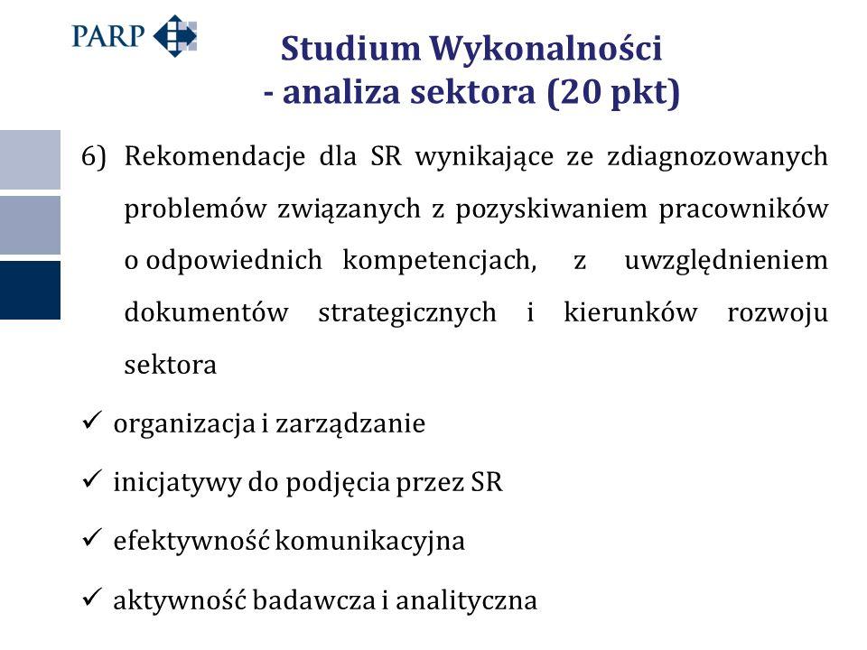 Studium Wykonalności - analiza sektora (20 pkt) 6)Rekomendacje dla SR wynikające ze zdiagnozowanych problemów związanych z pozyskiwaniem pracowników o odpowiednich kompetencjach, z uwzględnieniem dokumentów strategicznych i kierunków rozwoju sektora organizacja i zarządzanie inicjatywy do podjęcia przez SR efektywność komunikacyjna aktywność badawcza i analityczna