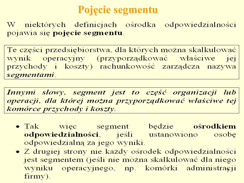 8 Segmenty w przedsiębiorstwie Segmentami mogą być: pojedyncze produkty, grupy produktów, rejony sprzedaży, grupy nabywców, rodzaje działalności, poszczególne zakłady w ramach jednego przedsiębiorstwa, poszczególne wydziały produkcyjne (gdy dany wydział produkuje wyrób), poszczególne linie produkcyjne, wydzielone ośrodki rentowności.