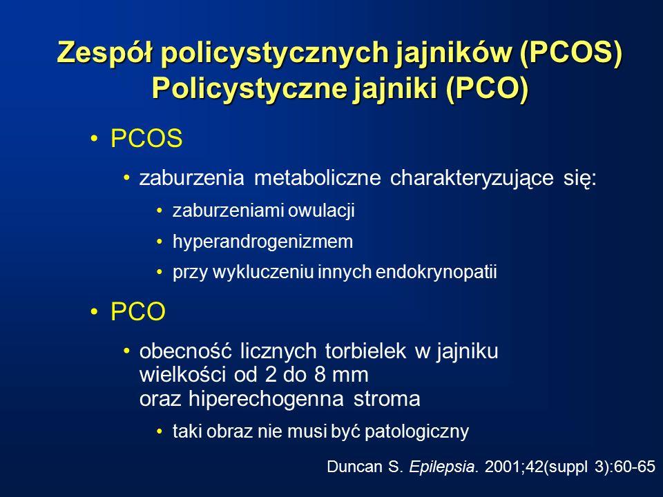 Zespół policystycznych jajników (PCOS) Policystyczne jajniki (PCO) PCOS zaburzenia metaboliczne charakteryzujące się: zaburzeniami owulacji hyperandrogenizmem przy wykluczeniu innych endokrynopatii PCO obecność licznych torbielek w jajniku wielkości od 2 do 8 mm oraz hiperechogenna stroma taki obraz nie musi być patologiczny Duncan S.