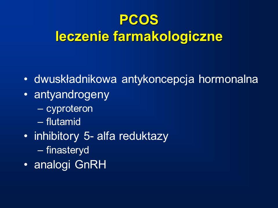 PCOS leczenie farmakologiczne dwuskładnikowa antykoncepcja hormonalna antyandrogeny –cyproteron –flutamid inhibitory 5- alfa reduktazy –finasteryd analogi GnRH