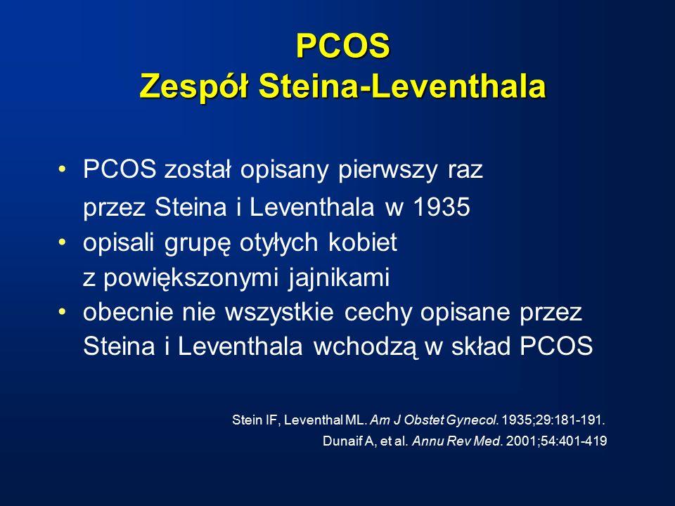 PCOS Zespół Steina-Leventhala PCOS został opisany pierwszy raz przez Steina i Leventhala w 1935 opisali grupę otyłych kobiet z powiększonymi jajnikami obecnie nie wszystkie cechy opisane przez Steina i Leventhala wchodzą w skład PCOS Stein IF, Leventhal ML.
