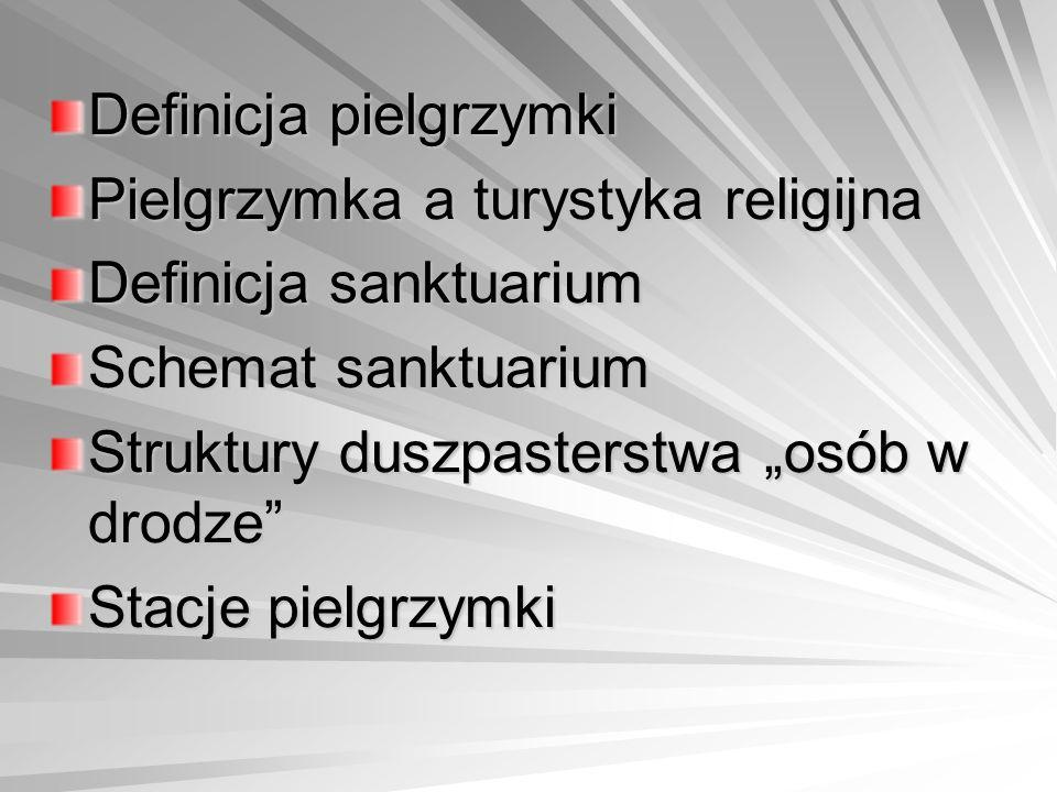 """Definicja pielgrzymki Pielgrzymka a turystyka religijna Definicja sanktuarium Schemat sanktuarium Struktury duszpasterstwa """"osób w drodze Stacje pielgrzymki"""