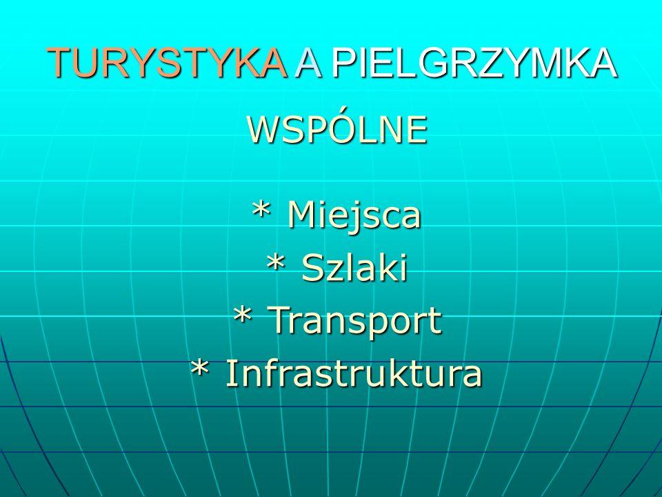 TURYSTYKA A PIELGRZYMKA WSPÓLNE * Miejsca * Szlaki * Transport * Infrastruktura