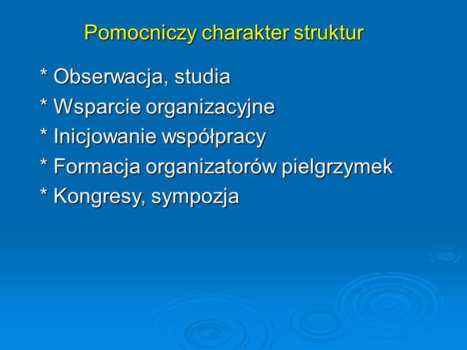 Pomocniczy charakter struktur * Obserwacja, studia * Wsparcie organizacyjne * Inicjowanie współpracy * Formacja organizatorów pielgrzymek * Kongresy, sympozja
