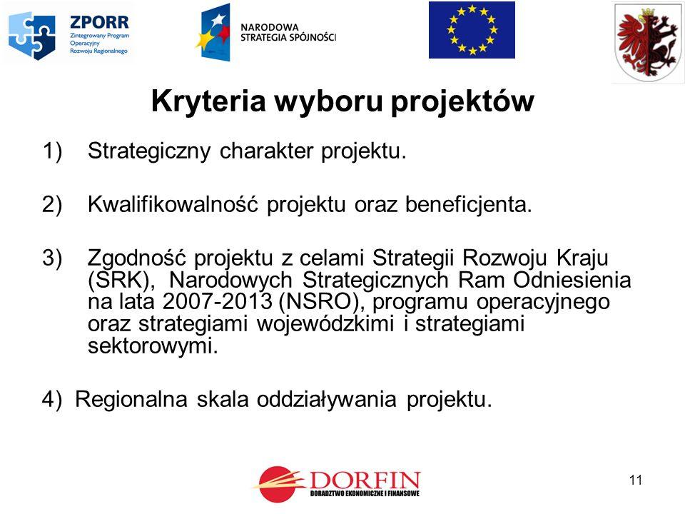 11 Kryteria wyboru projektów 1)Strategiczny charakter projektu.