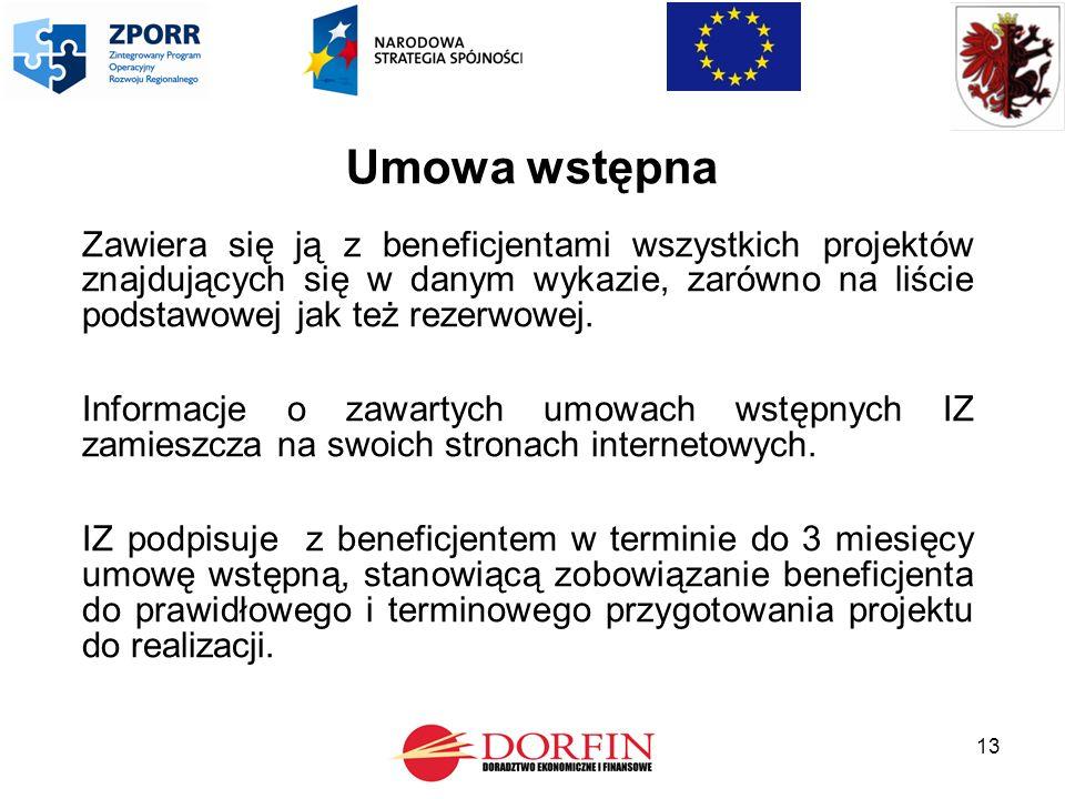13 Umowa wstępna Zawiera się ją z beneficjentami wszystkich projektów znajdujących się w danym wykazie, zarówno na liście podstawowej jak też rezerwowej.