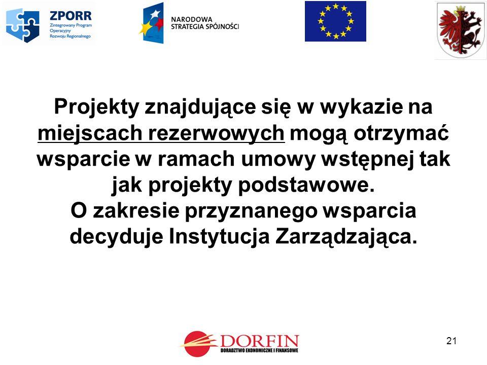 21 Projekty znajdujące się w wykazie na miejscach rezerwowych mogą otrzymać wsparcie w ramach umowy wstępnej tak jak projekty podstawowe.