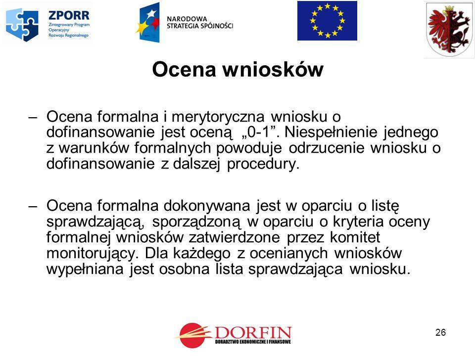 """26 Ocena wniosków –Ocena formalna i merytoryczna wniosku o dofinansowanie jest oceną """"0-1 ."""