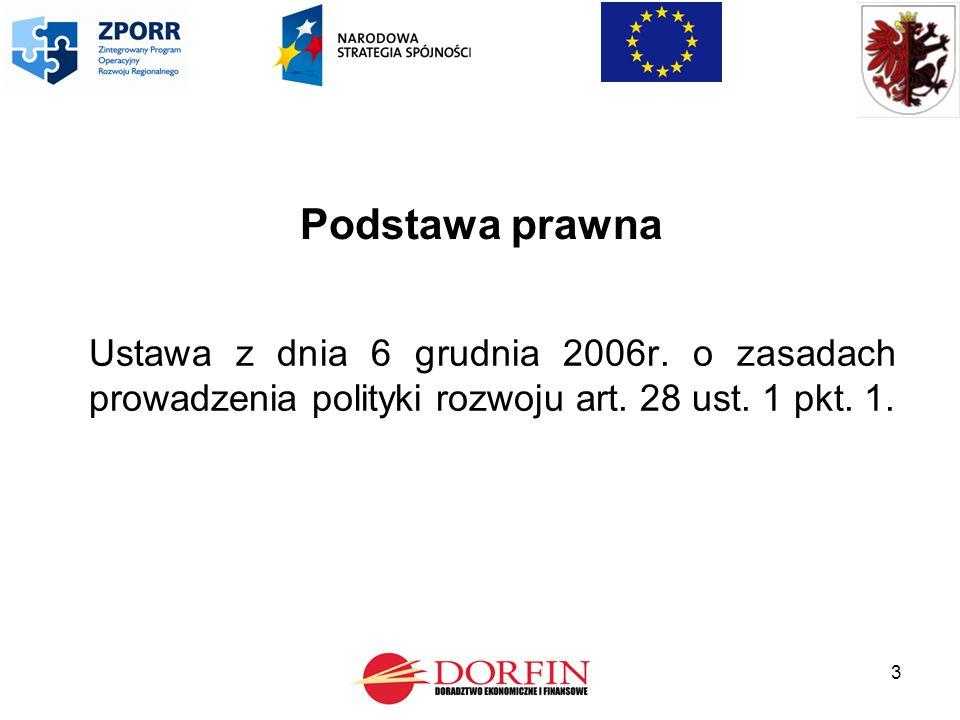 3 Podstawa prawna Ustawa z dnia 6 grudnia 2006r. o zasadach prowadzenia polityki rozwoju art.