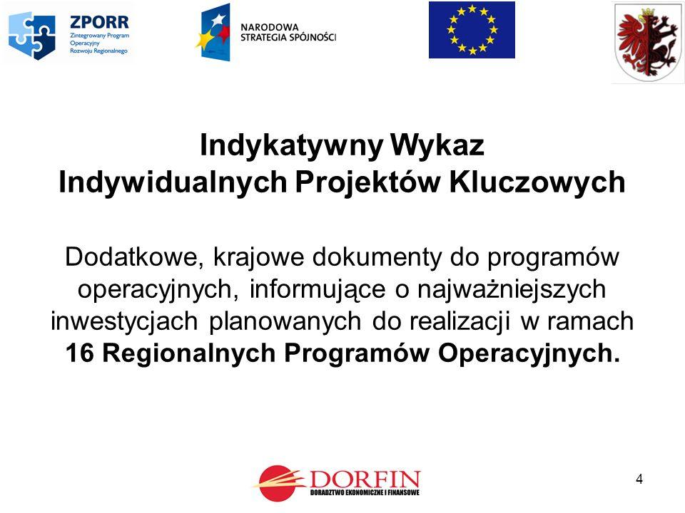 4 Indykatywny Wykaz Indywidualnych Projektów Kluczowych Dodatkowe, krajowe dokumenty do programów operacyjnych, informujące o najważniejszych inwestycjach planowanych do realizacji w ramach 16 Regionalnych Programów Operacyjnych.