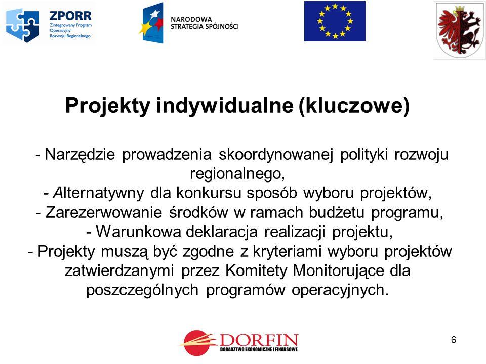 6 Projekty indywidualne (kluczowe) - Narzędzie prowadzenia skoordynowanej polityki rozwoju regionalnego, - Alternatywny dla konkursu sposób wyboru projektów, - Zarezerwowanie środków w ramach budżetu programu, - Warunkowa deklaracja realizacji projektu, - Projekty muszą być zgodne z kryteriami wyboru projektów zatwierdzanymi przez Komitety Monitorujące dla poszczególnych programów operacyjnych.