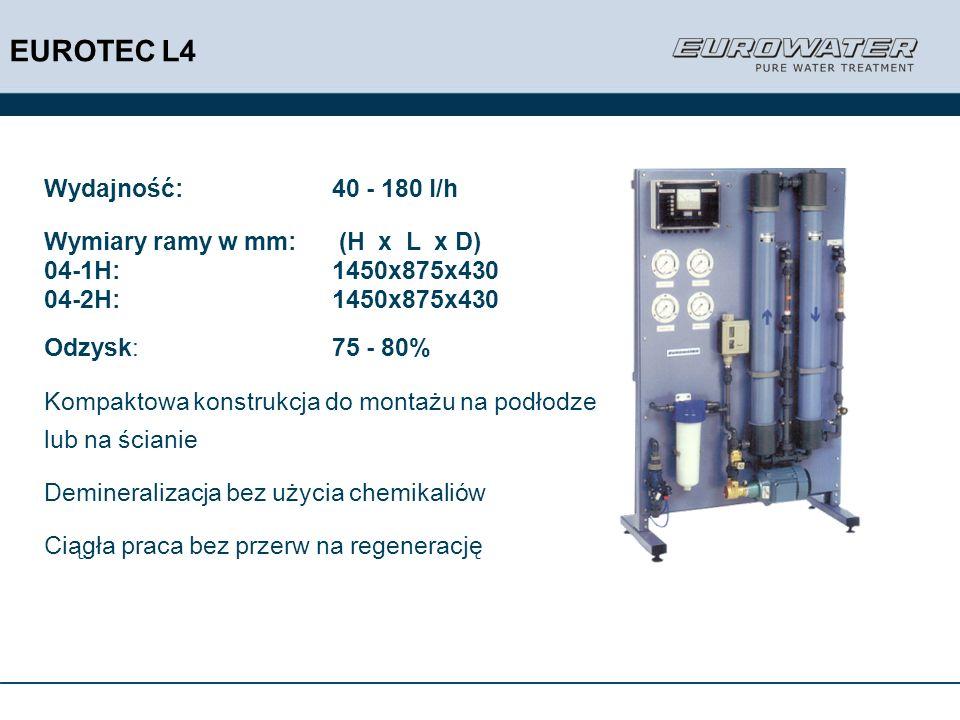 Wydajność:40 - 180 l/h Wymiary ramy w mm: (H x L x D) 04-1H:1450x875x430 04-2H:1450x875x430 Odzysk:75 - 80% Kompaktowa konstrukcja do montażu na podło