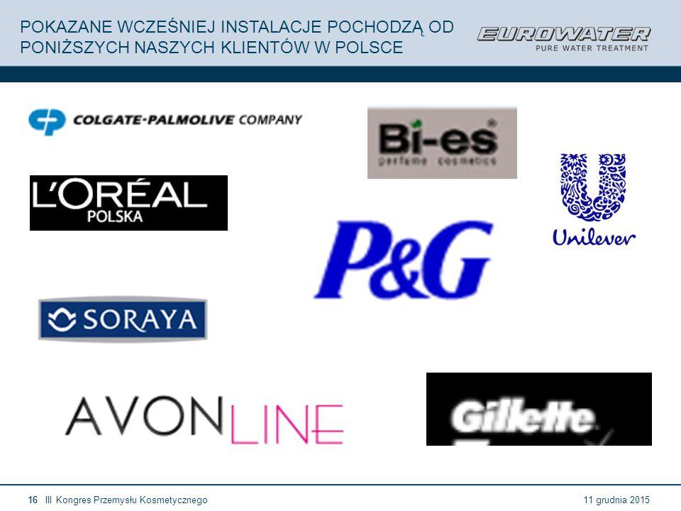 11 grudnia 2015III Kongres Przemysłu Kosmetycznego16 POKAZANE WCZEŚNIEJ INSTALACJE POCHODZĄ OD PONIŻSZYCH NASZYCH KLIENTÓW W POLSCE