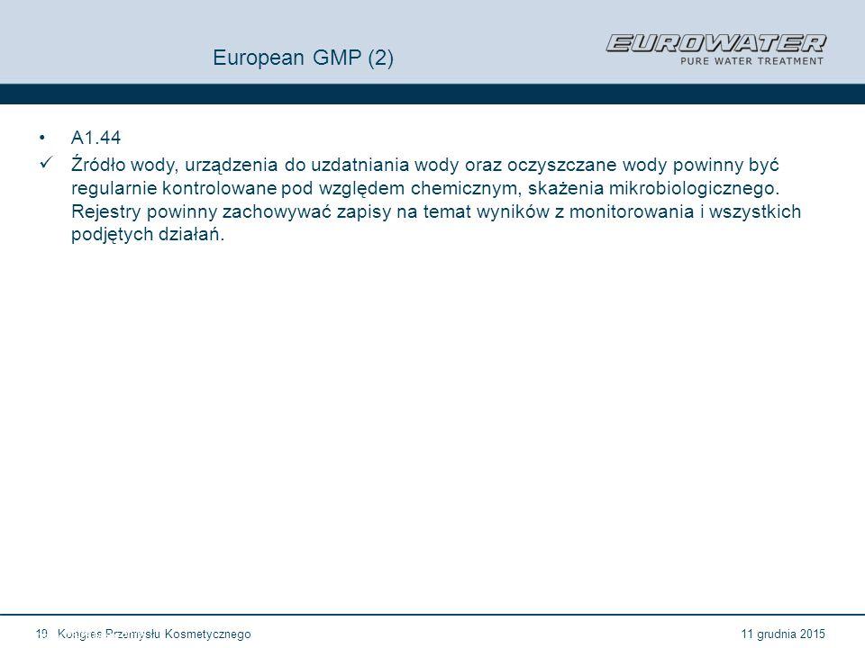 11 grudnia 2015Kongres Przemysłu Kosmetycznego19 Forum Walidacji ISPE Wrocław, 28-29 lutego 2012 European GMP (2) A1.44 Źródło wody, urządzenia do uzd