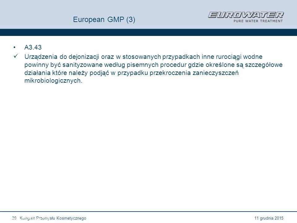 11 grudnia 2015Kongres Przemysłu Kosmetycznego20 Forum Walidacji ISPE Wrocław, 28-29 lutego 2012 European GMP (3) A3.43 Urządzenia do dejonizacji oraz