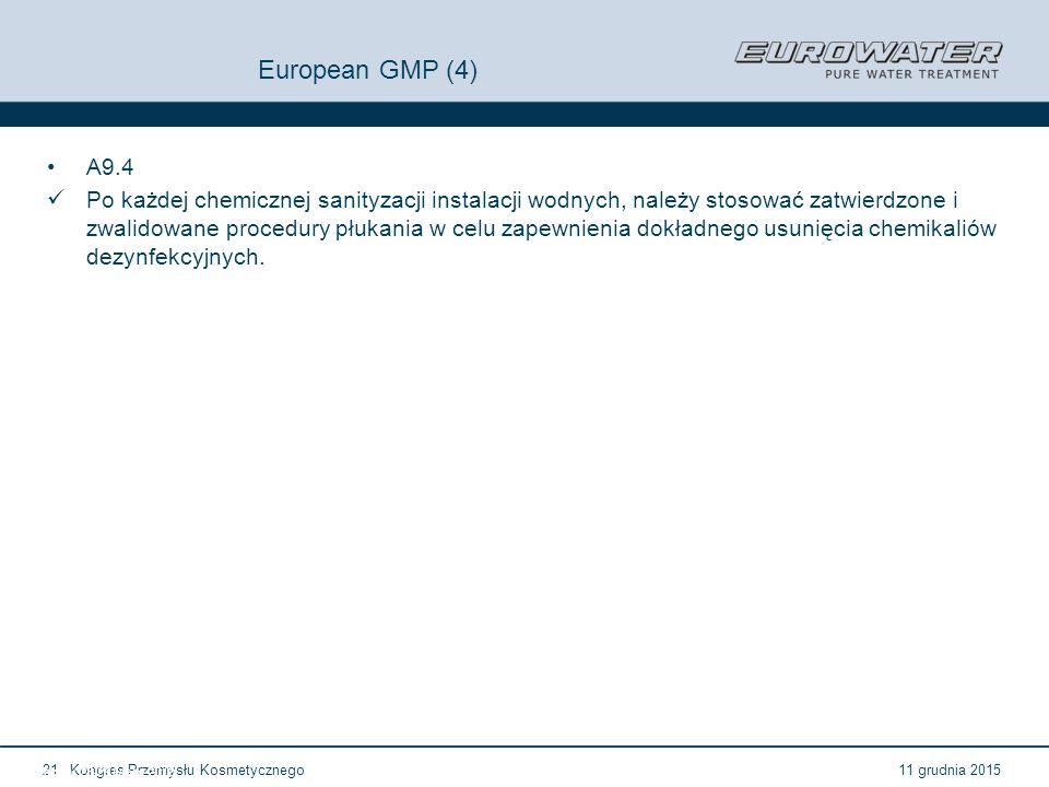 11 grudnia 2015Kongres Przemysłu Kosmetycznego21 Forum Walidacji ISPE Wrocław, 28-29 lutego 2012 European GMP (4) A9.4 Po każdej chemicznej sanityzacj