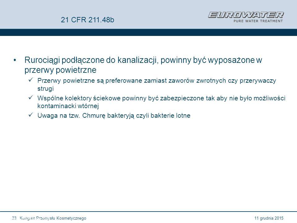 11 grudnia 2015Kongres Przemysłu Kosmetycznego23 Forum Walidacji ISPE Wrocław, 28-29 lutego 2012 21 CFR 211.48b Rurociągi podłączone do kanalizacji, p