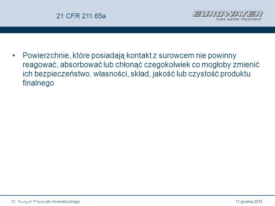 11 grudnia 2015Kongres Przemysłu Kosmetycznego24 Forum Walidacji ISPE Wrocław, 28-29 lutego 2012 21 CFR 211.65a Powierzchnie, które posiadają kontakt