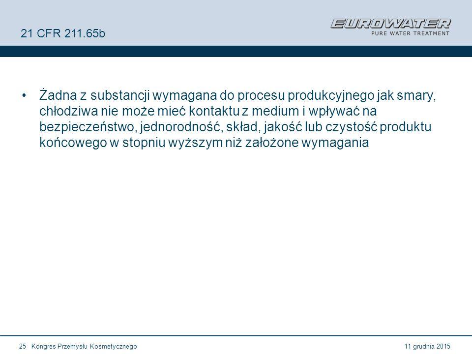 11 grudnia 2015Kongres Przemysłu Kosmetycznego25 21 CFR 211.65b Żadna z substancji wymagana do procesu produkcyjnego jak smary, chłodziwa nie może mie